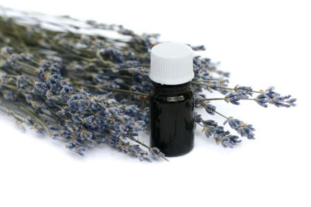 Dried lavender herb flowers with  essential oil glass bottle over white background. Stock Photo - 7989446