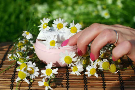 Female hand and  box of  cream with flowers. Stock Photo - 8041746