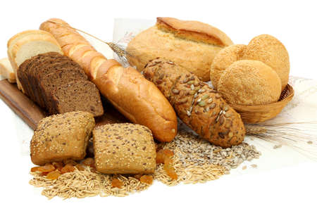 bakery products: Different bread products on white background