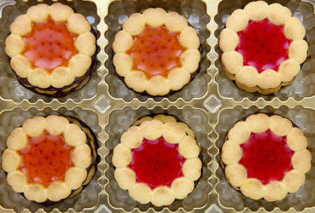 shortbread: Christmas cookies in a box close up shoot Stock Photo