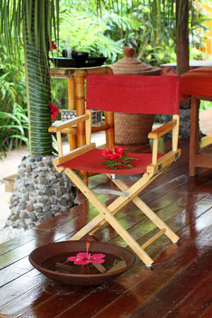 Attractive details of tropical massage salon photo