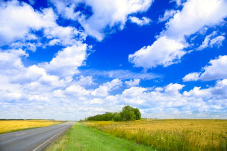 Travel on countryside road through  fields. Summertime photo