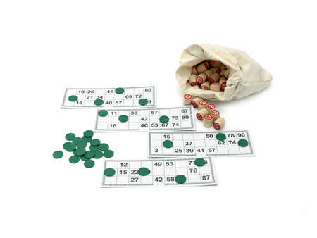 kegs: Lotto game: wooden kegs in a sack and game cards  isolated on white background Stock Photo