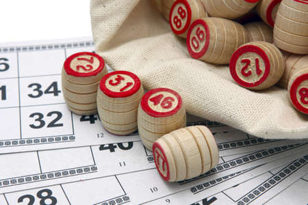 kegs: Lotto game: wooden kegs in a sack and game cards