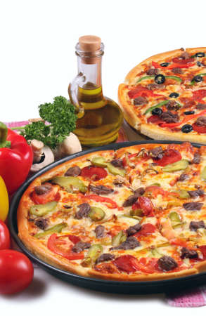 Pizza and italian kitchen. Isolated on white background. photo