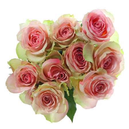 bouquet flowers: Bouquet of pink roses isolated on white background Stock Photo