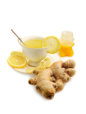Ginger tea with lemon and honey isolated on white background Stock Photo