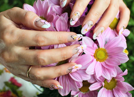 nail art: Beautiful nail design. Woman hands with chrysanthemums flowers. Stock Photo