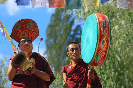 LADAKH - SEPTEMBER 6: Buddhist monks play music on percussion instruments during the praying ceremony on September 6, 2011 in  Lehs monastery, Ladakh, India.
