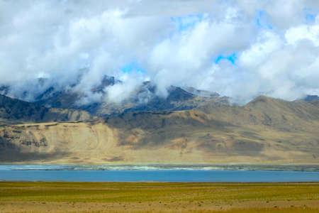 ladakh: Landscape with mountain lake Tso Moriri, Ladakh, India. Stock Photo