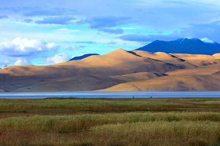 himalayas: Landscape with mountain lake Tso Moriri, Ladakh, India. Stock Photo