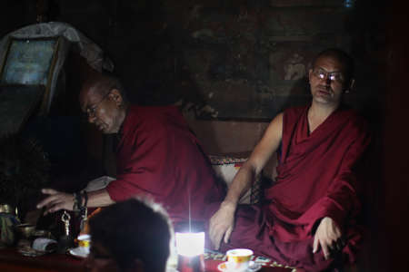 LEH, LADAKH - SEPTEMBER 3: Buddhist monks prays on the ceremony on September 3, 2011 in Lehs  monastery, Ladakh, India.