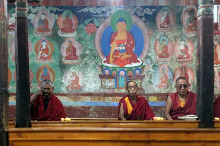 buddhist monk: LADAKH - SEPTEMBER 4: Buddhist monks  have breakfast and pray on the morning ceremony on September 4, 2011 in  Thiksey Gompa, Ladakh, India.