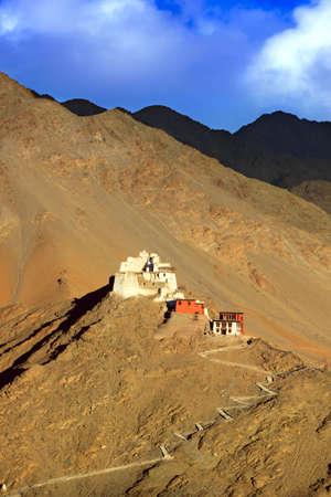 ladakh: Landscape with fort and Namgyal  gompa on  mountain. Sunset. Leh. Ladakh. India Stock Photo