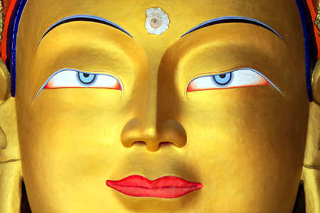 buddha face: Gold Buddha face. Close up Stock Photo