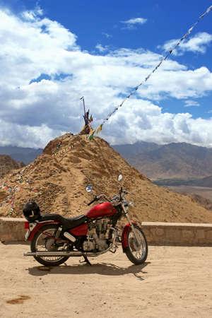 ladakh: Travel motorcycle on the mountain background. Himalayas