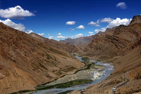 ladakh: The Zanskar valley with river. Himalayan scenic. India.
