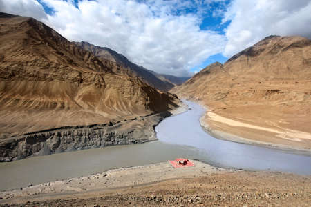 Confluence of rivers Zanskar and Indus in Himalayan mountains, Ladakh, Jammu and Kashmir. India photo