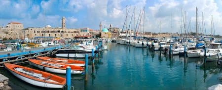 acre: The historic port of Acre in north Israel  Panorama