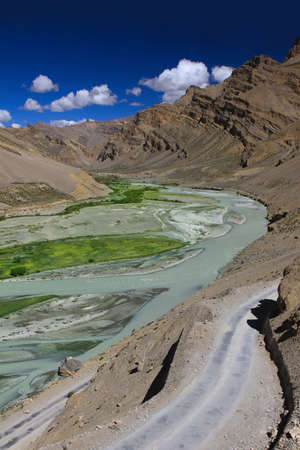 ladakh: The Zanskar valley with river. Himalayan scenic. India Stock Photo