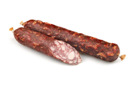gastronome: Smoked sausage isolated on white background