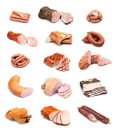 raw chicken: Meat and sausage collection isolated on white background