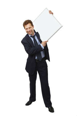 advertize: Business man holding banner  Isolated on white background