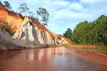 ne: Landscape with river between red rocks and jungle  Ham Tien canyon  Mui ne, Vietnam