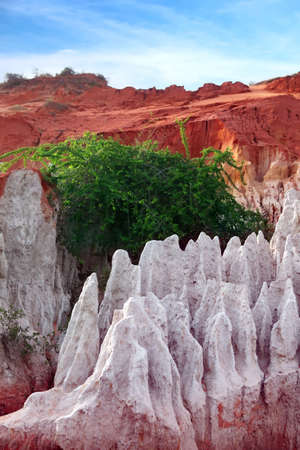 stratification: Rock pinnacles at the Fairy stream, Mui Ne, Vietnam