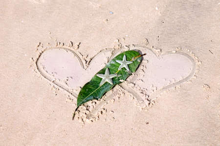 Still life with two drawn hearts and starfishes on wet sand photo