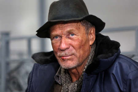 disheartened: Lonely sad homeless man in portrait