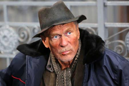 empty handed: Male homeless beggar  Portrait