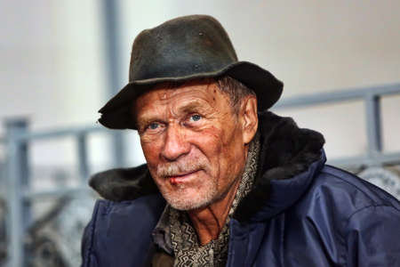 empty handed: Lonely Old Homeless Man in Portrait