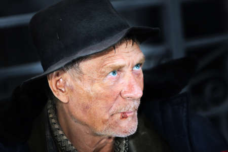 spiritless: Lonely Old Homeless Man in Portrait