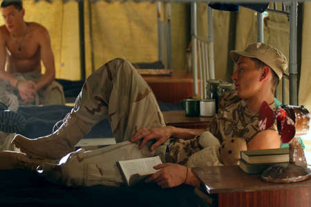 barrack: The soldier sleeping in a barrack