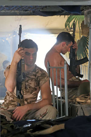 barrack: The soldiers resting in barrack  Stock Photo