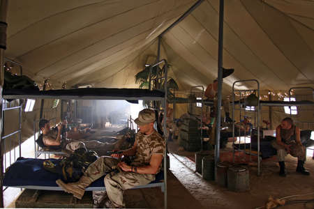 barracks: The soldiers has a rest in barracks Stock Photo