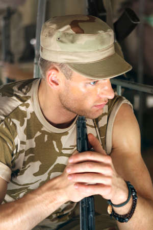 barracks: The soldier has a rest in barracks Stock Photo