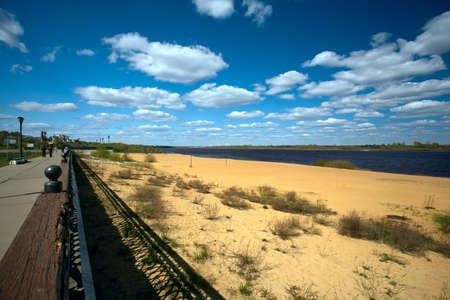 oka: Urban view with a sandy beach on the river Oka. Russia