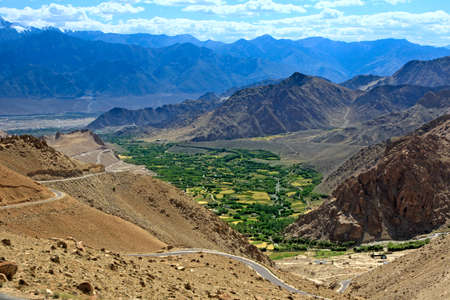 himalayas: Mountain landscape with  village in valley. Himalayas