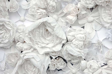 background paper: decorative background from white paper flowers of a paper-mache