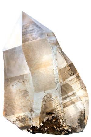 quartz crystal: Large smoky quartz crystal , isolated on white