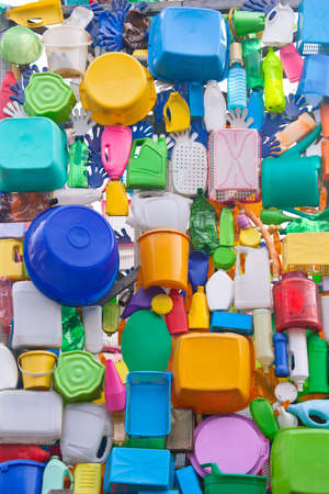 sundry: Background from plastic ware - bowls, bottles, buckets, canisters, etc. Stock Photo