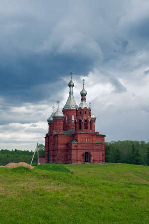 olgas: TVER OBLAST RUSSIA - JUNE 02, 2016: Olgas ancient orthodox church of the 17th century at the source of Volga river Tver oblast Russia in June 2016