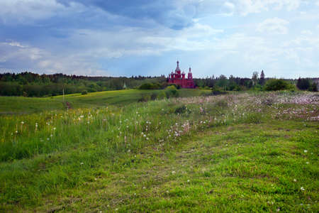 olgas: Summer landscape with the Russian church. Olgas monastery. Tver region.