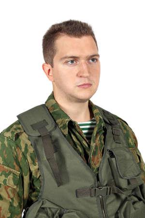 serviceman: Military serviceman portrait. Iisolated on white
