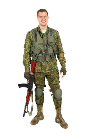 serviceman: Military serviceman smiling. Portrait. Iisolated on white Stock Photo