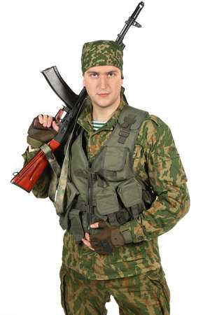 serviceman: Military serviceman with rifle. Portrait. Isolated on white background