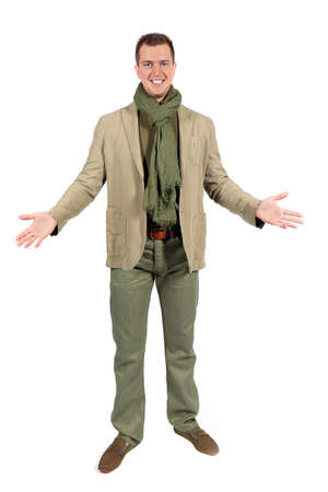 fop: Joyful caucasian man in casual clothes with open embraces  isolated on white studio background