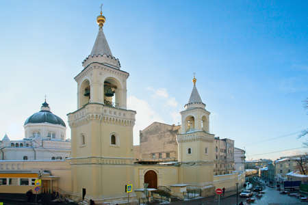 beheading: MOSCOW, RUSSIA - JANUARY 11, 2017: View of the ancient Ivanovsky Convent,  bell towers and dome of a cathedral on Zabelin Street in Moscow. Editorial